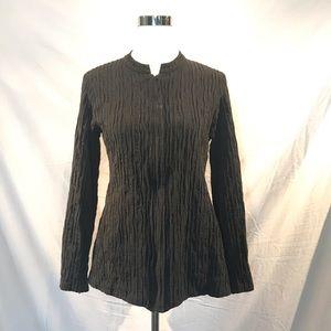 Eileen Fisher Black Textured Zip Up Jacket
